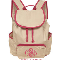 Monogrammed Hot Pink Canvas Back Pack | School Accessories | Marley Lilly
