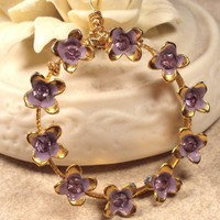 Vintage Pendant Necklace with Lilac Flower Wreath on Gold Plated Chain | YourTime - Jewelry on ArtFire