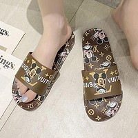 LV Louis Vuitton slippers fashion outer wear summer beach flip flops casual sandals slippers Shoes Coffee