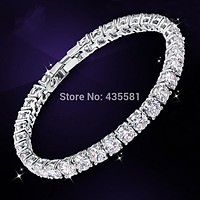 silver plated WHite CZ &Round Zirconia AAA+ Tennis Bracelet Jewellry Handmade 18.3GRAMS white color S26