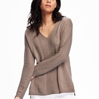 Rib-Knit V-Neck Pullover for Women | Old Navy