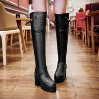 Pu Leather Thigh High Boots Platform Motorcycle Boots High Heels Thick Heeled Shoes Woman 3290 3290