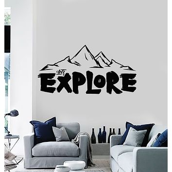 Vinyl Wall Decal Words Let's Explore Mountains Tourism Travel Stickers Mural (g3416)