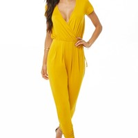 Mock Wrap Ruched Jumpsuit