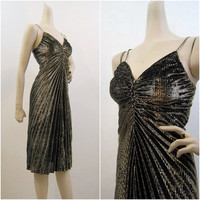 70s 80s Dress Vintage Ruched Gold Lurex Marilyn Cocktail Party S