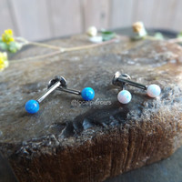 """16g Opal Stud Labret Piercing 5/16"""" 8mm Tragus Piercings Nose Ring Blue White Opals Silver Post Cartilage Conch Monroe Body Jewelry Pierced Helix Gemstone Earring 