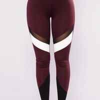 Roxana Active Leggings - Burgundy
