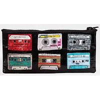 Mix Tape Pencil Case in Black with Zipper