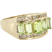 Peridot Diamond Vintage Cocktail Ring 14 Karat Yellow Gold Estate Fine Jewelry
