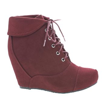 Carmela24 By Bamboo, Almond Toe Lace Up Folded Cuff Hidden High Wedge Ankle Bootie