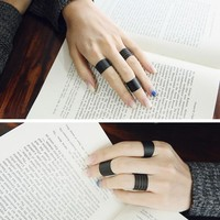 3pcs Black Open Spiral Stack Above Knuckle Rings Costume Jewelry