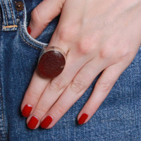 STERLING Silver RING / Huge Etched CARNELIAN Statement Piece