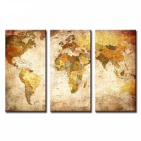 World Map Canvas Pictures (3 Panels)
