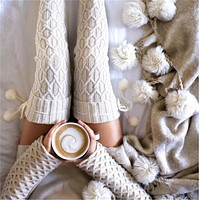 Women Cable Knit Cotton Leg Warmer Long Boot Over Knee Thigh High Socks