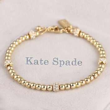 Kate Spade Fashion New More Lucky Beads Diamond Personality Bracelet Women Golden