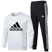 ADIDAS 2018 autumn and winter new sportswear casual men's two-piece suit White