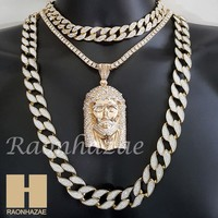 "Hip Hop Iced Out Jesus Pendant 16"" Iced Out Choker 18"" Tennis 30"" Cuban Chain 24"