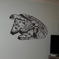 Millenium falcon, Star wars, Darth Vader, Use the force,  Wall sticker, Vinyl decal, Boys room decor, By Otrengraving on Etsy