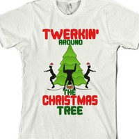 Twerkin around the Christmas Tree-Unisex White T-Shirt