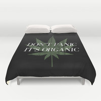 Don't Panic it's Organic Vintage Potleaf Print Duvet Cover by RexLambo