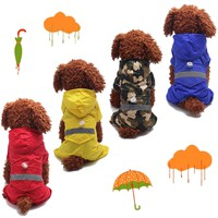 Pet Rain Coat For Dog Puppy Waterproof Jacket Rainwear Hooded Camouflage Clothes 4 Color XS~L Dogs Raincoats