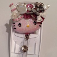 Blushing Bride Hello Casting Kitty Pendant and Id Badge Reel Holder | evezbeadz - Accessories on ArtFire