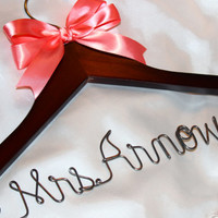 Personalized wedding hanger  -  bridal hanger  -  bridesmaid gift  -  wedding shower gift  -  bride hanger  -  picture prop