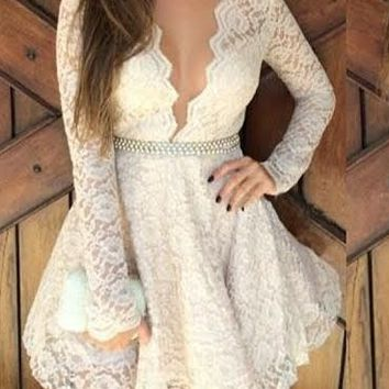 Deep V-Neck Long Sleeve Lace Homecoming Dresses With Beadings