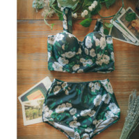 The new Floral tape high waist split bikini swimming suit