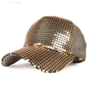Sequins Mesh Lady Street Fashion Peak Hat
