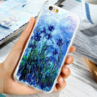 Embossment Case For iPhone 7 7 Plus 6 6s Plus 5 5S SE Cover Art Print Flower Painting Capa For iphone-0410