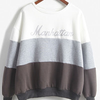 Pink Ombre Round Neck Letters Print Sweatshirt