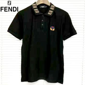 Fendi 2019 new embroidered logo half-sleeve polo shirt