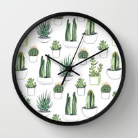 watercolour cacti and succulent Wall Clock by Vicky Webb