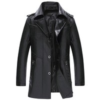 Black & Red Long Jackets Men's Leather Jackets Clothing Casual Zipper Faux Leather Over Coats