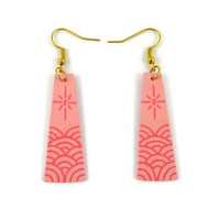 Powdery pink trapeziums dangle earrings with candy pink stylized waves and sun, asian style fancy earrings, recycled plastic earrings