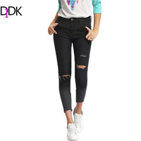 Destroyed Jeans For Women Casual Summer Trousers Womens Ombre Ripped Button Fly Mid Waist Skinny Denim Ankle Pants