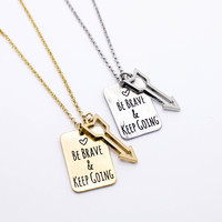 Be brave arrow necklace