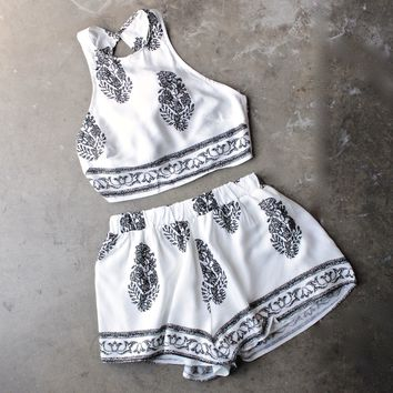 final sale - reverse - white + black boho print halter two piece set
