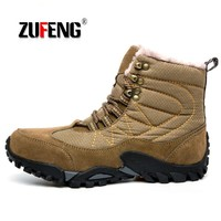 High-quality Genuine leather Men Snow Boots Winter Hiking Shoes Outdoor Keep Warm Sneakers For Men Climbing waterproof tactical