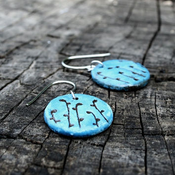 Ceramic jewelry ceramic earrings - colorful jewelry, floral motif, bright blue, natural jewelry