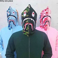 BAPE sells casual couple hoodies shark embroidery camouflage patchwork hats zipper jackets