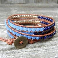 Beaded Leather Wrap Bracelet 4 or 5 Wrap with Blue Riverstone and Gold Czech Glass Beads on Saddle Leather
