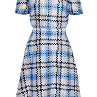 Silk Check Flared Dress