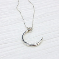Celestial jewelry, crescent moon necklace, small new moon necklace, 925 sterling silver moon, lunar phase, crescent necklace, gift for her