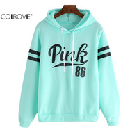 2016 Women New Arrival Fashionable Pullovers Brand Loose High Street Drawstring Hooded Letters Print Long Sleeve Sweatshirt