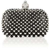 Alexander McQueen|The Skull faux pearl-embellished leather box clutch |NET-A-PORTER.COM