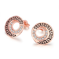 Round Pave Crystal 18k Rose Gold Plated Earring