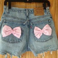 Levi's High Waisted Hipster Shorts with Pink Bow Pockets