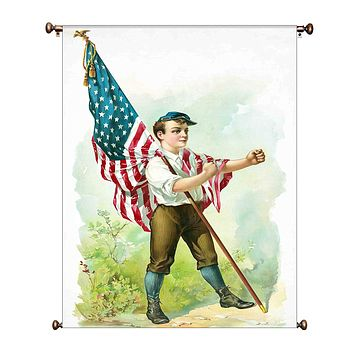 Boy Marching with American Flag Vintage Picture on Canvas Hung on Copper Rod, Ready to Hang, Wall Art Décor